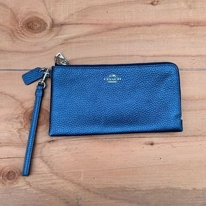 Coach Metallic Blue Clutch Wallet